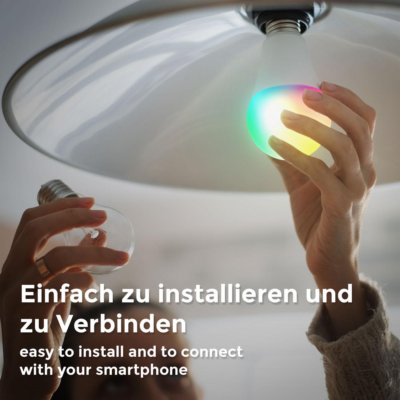 WiFi LED Leuchtmittel RGB + CCT E27 9W | 4er Set - 7