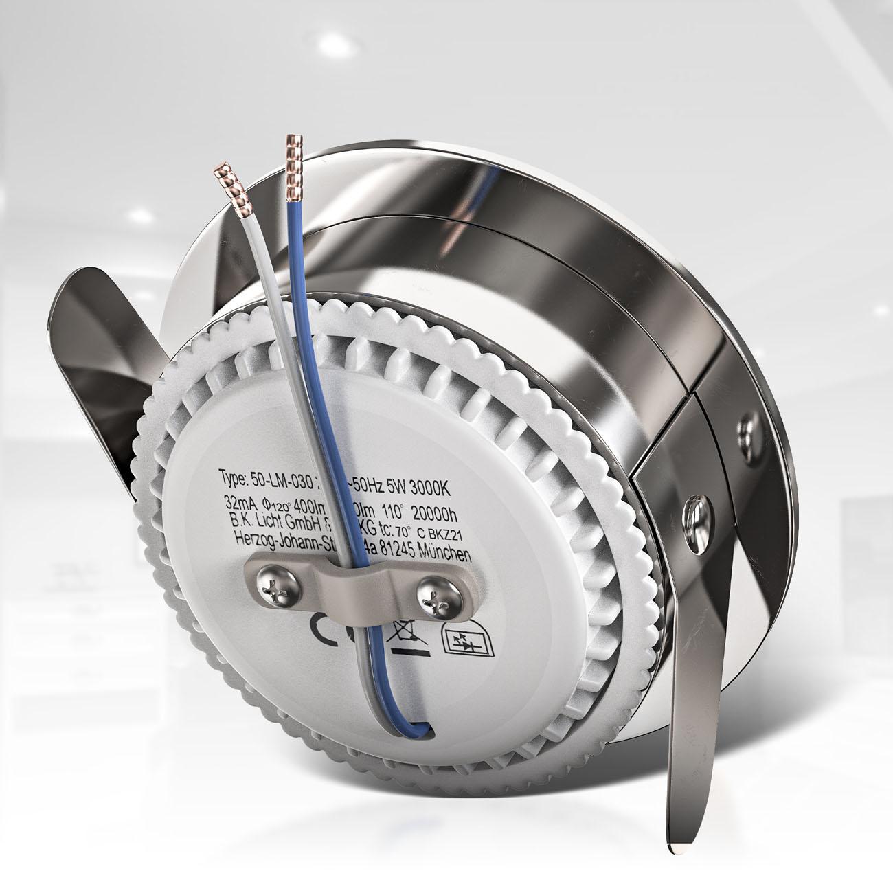LED Einbaustrahler   Bad Einbauleuchte 5er SET   ultra flach 5W IP44 dimmbar - 5