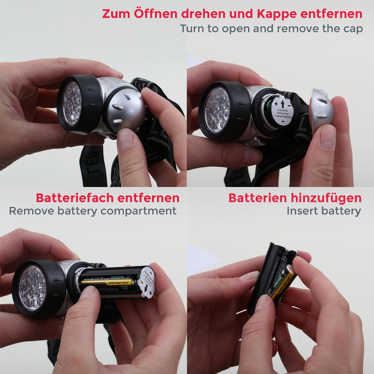 LED Outdoor Kopfleuchte mit Batteriebetrieb IP44 - 6