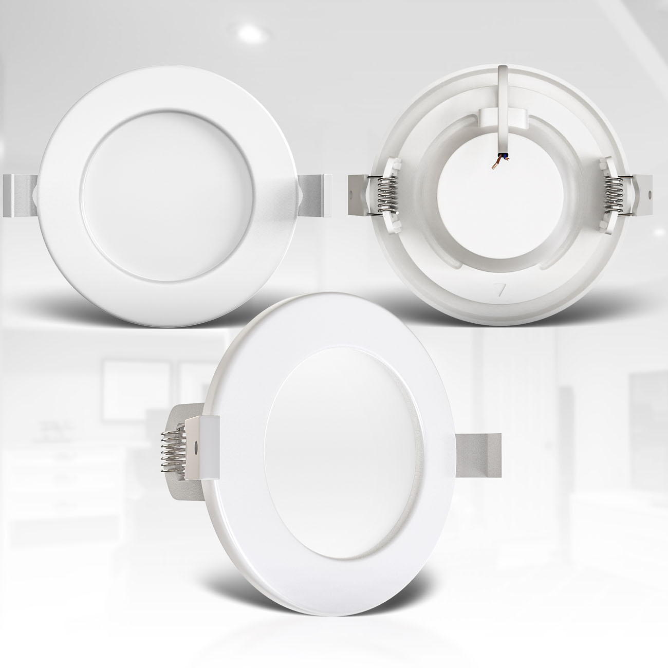 LED Einbaustrahler | Bad Einbauleuchte 6er SET | ultra flach 6W IP44 - 6