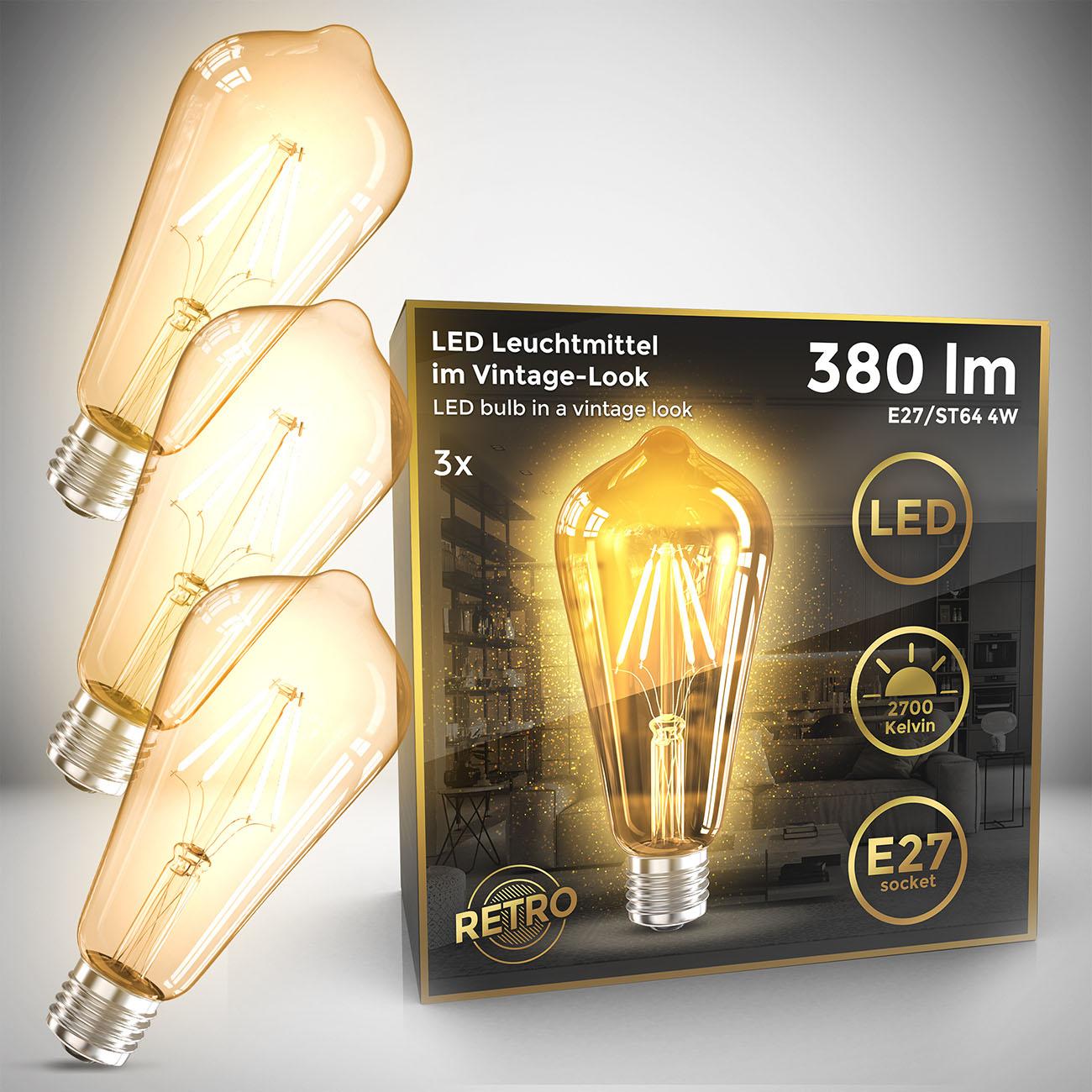 Retro Filament Leuchtmittel Modell ST64 E27 | 3er Set