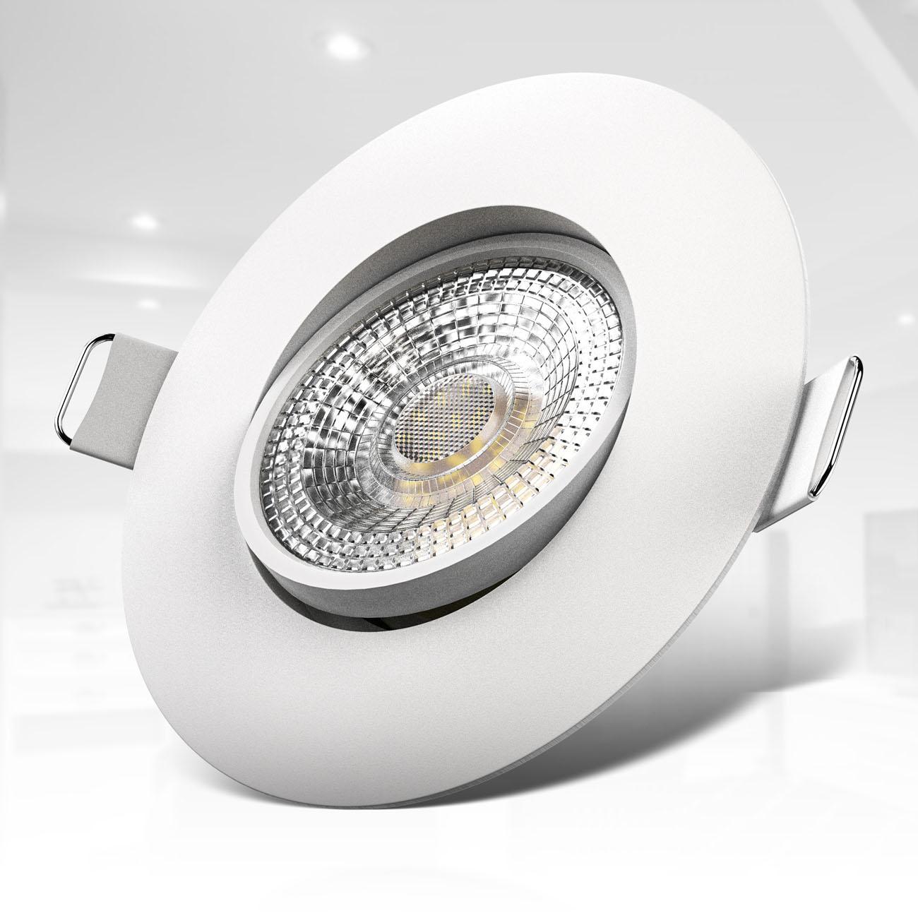 LED Einbaustrahler | Einbauleuchte 6er SET | ultra flach 5W schwenkbar weiß - 4
