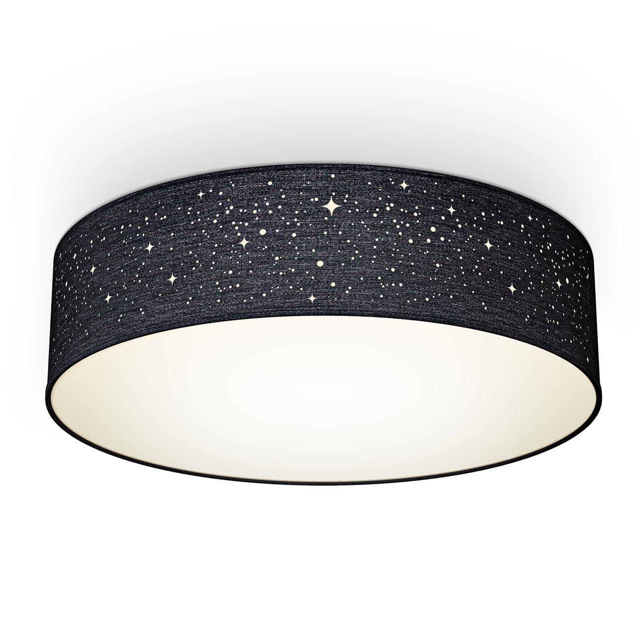 Deckenleuchte Stoff mit Sternenoptik schwarz 2xE27 - 1