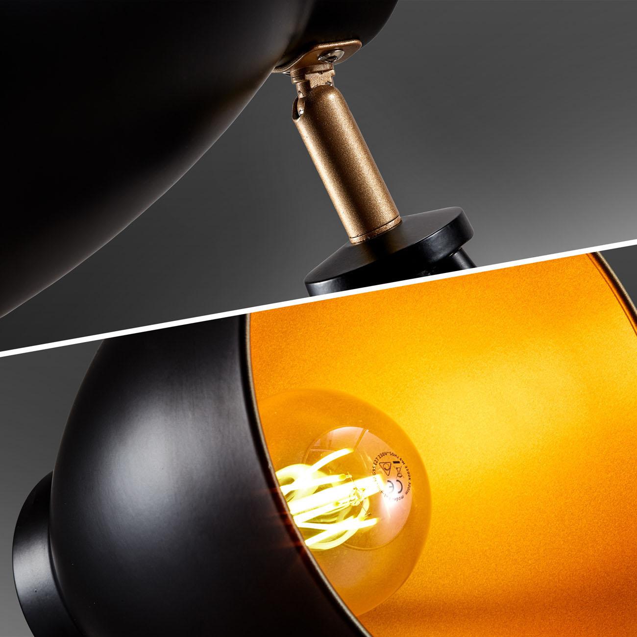 Retro Stehleuchte schwarz-gold E27 - 4