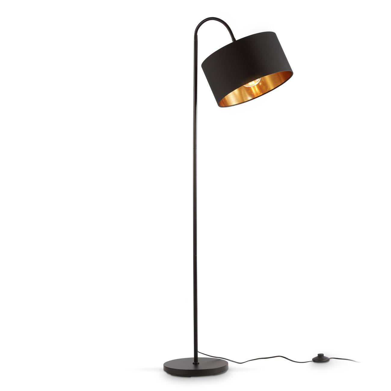 Stehlampe mit schwenkbarem Stoffschirm schwarz-gold E27