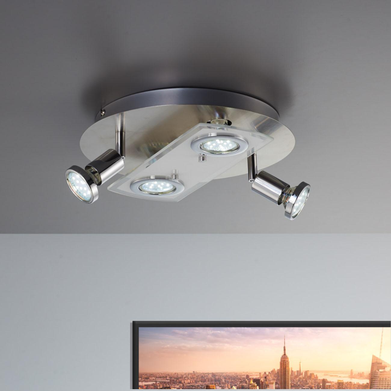 LED Kombi Deckenleuchte Spotleuchte 4-flammig rund - 2