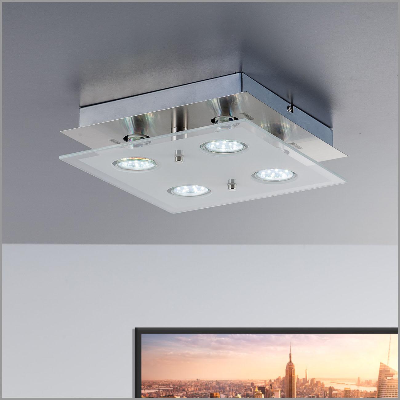 LED Deckenleuchte teilsatiniertes Glas 4-flammig GU10