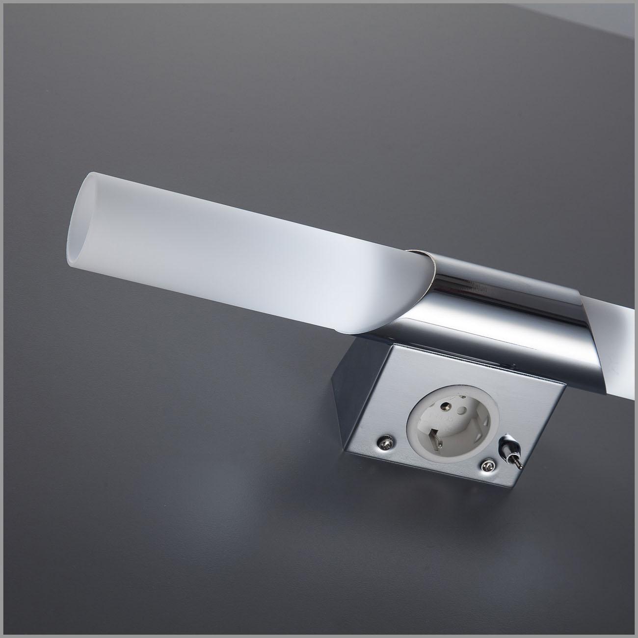 LED Spiegelleuchte Badlampe mit Steckdose 2xE14  - 5