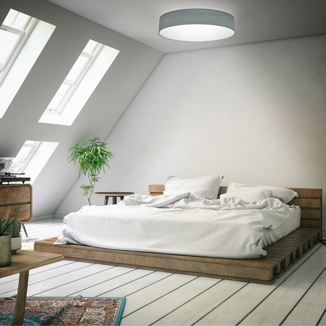 LED  Deckenleuchte mit Stoffschirm grau