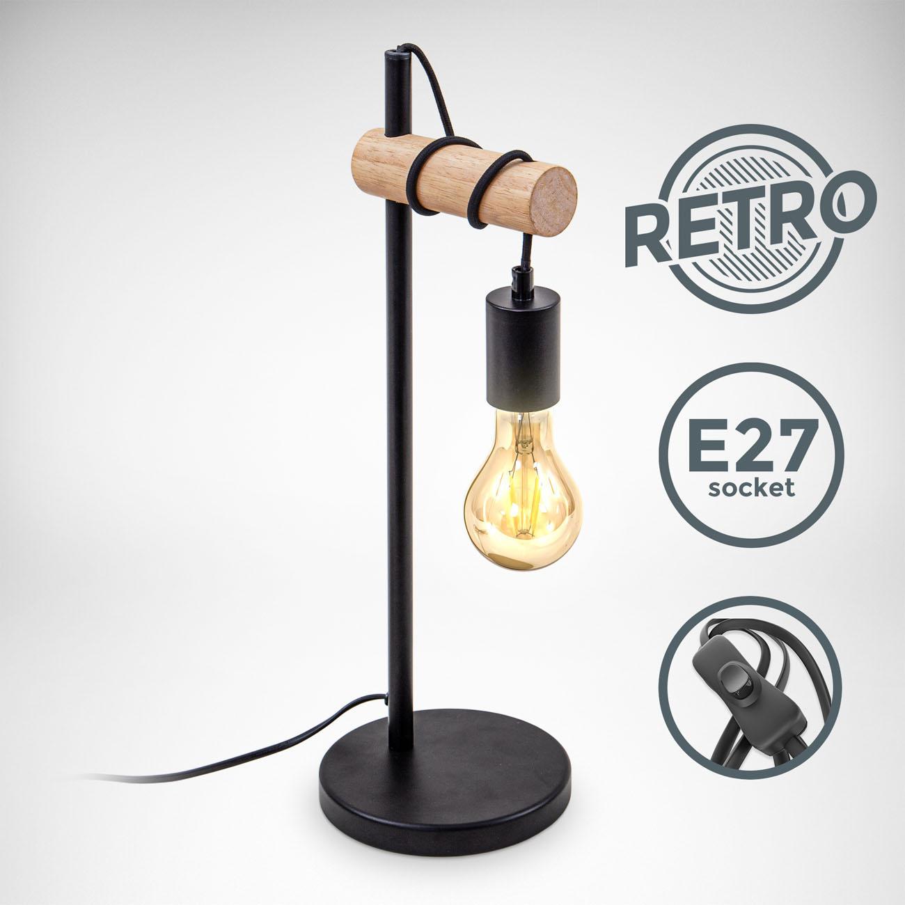 Retro Tischleuchte Metall-Holz-Optik schwarz E27 - 3