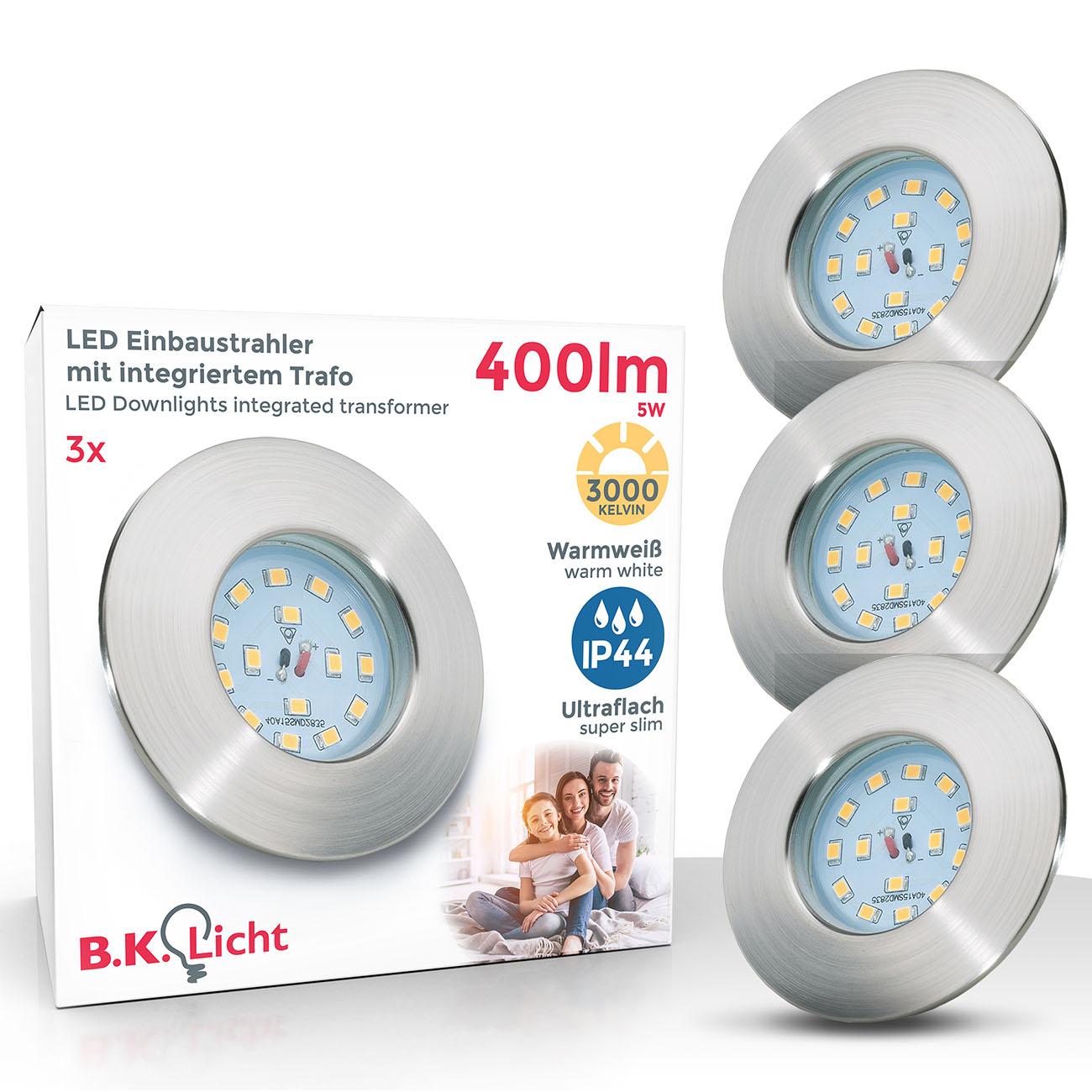LED Einbaustrahler | Bad Einbauleuchte 3er SET | ultraflach 5W IP44