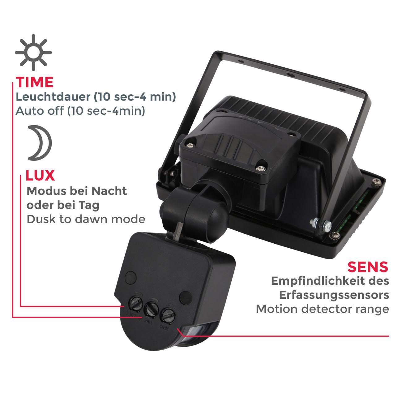 LED Außenstrahler mit Bewegungsmelder IP44 schwarz - 4