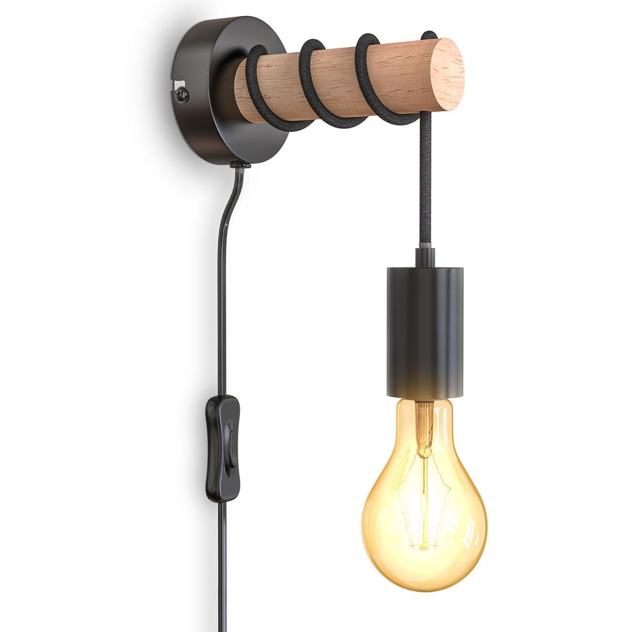Retro Wandleuchte Metall-Holz-Optik mit Schalter schwarz E27  - 1
