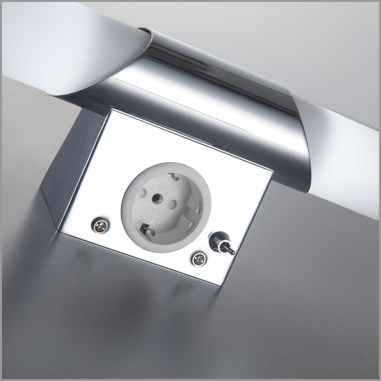 LED Spiegelleuchte Badlampe mit Steckdose 2xE14  - 6