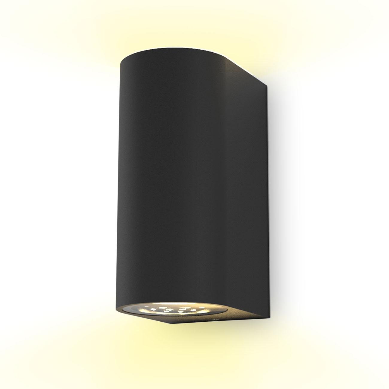 Wandleuchte für Innen und Außen schwarz GU10