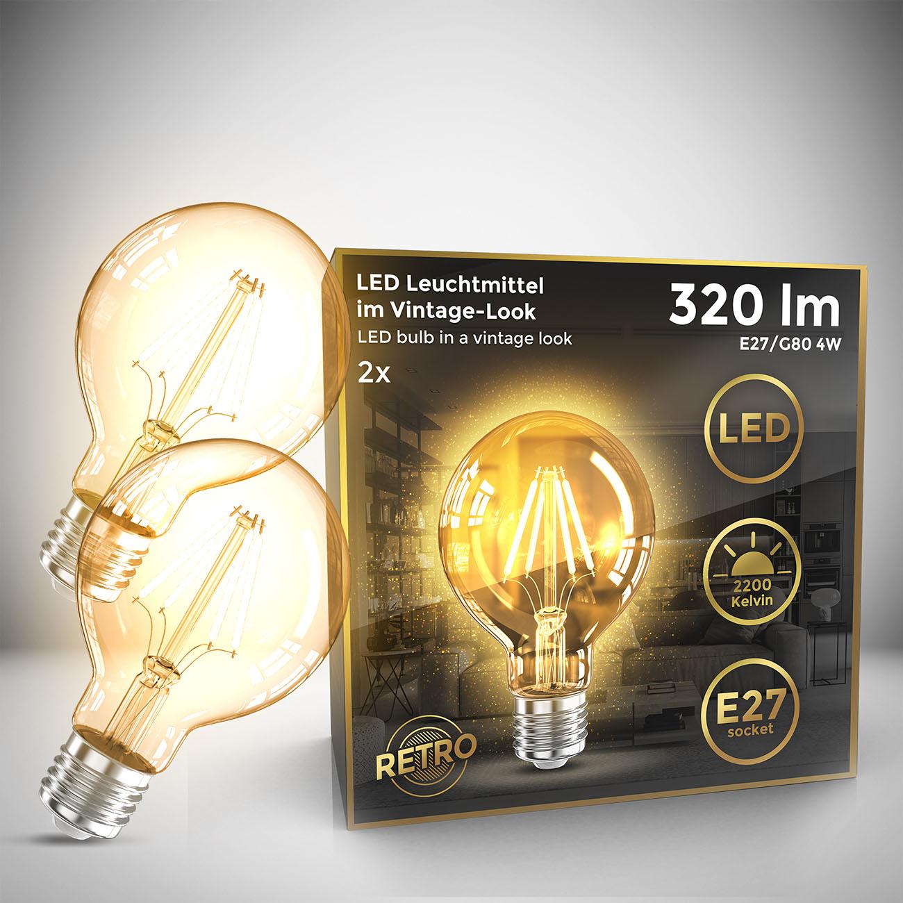 Retro Filament Leuchtmittel Modell G80 E27 | 2er Set